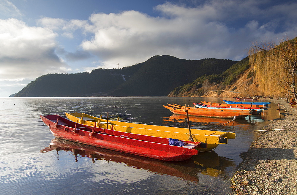 Boats on Lugu Lake, Lige village, Yunnan, China, Asia - 800-2985