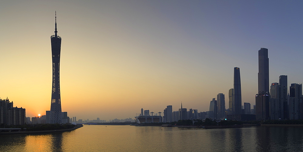 Skyline of Tianhe at sunset, Guangzhou, Guangdong, China - 800-3037