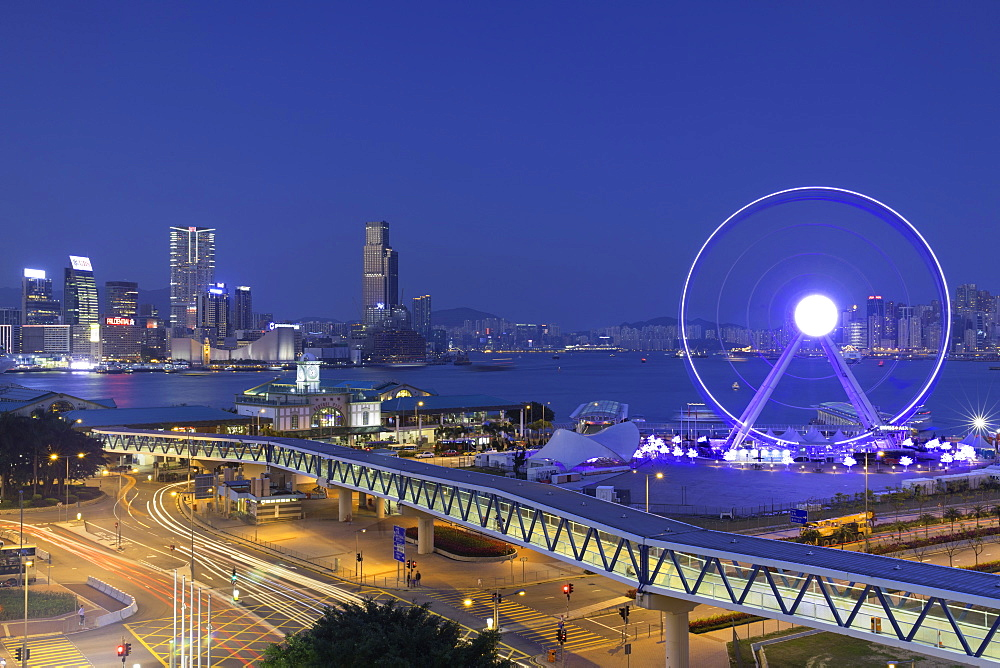 View of Star Ferry pier, observation wheel and Tsim Sha Tsui skyline, Central, Hong Kong, China, Asia - 800-3041