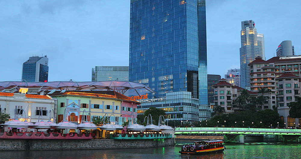 Boats on Singapore River, Clarke Quay, Singapore, Southeast Asia, Asia