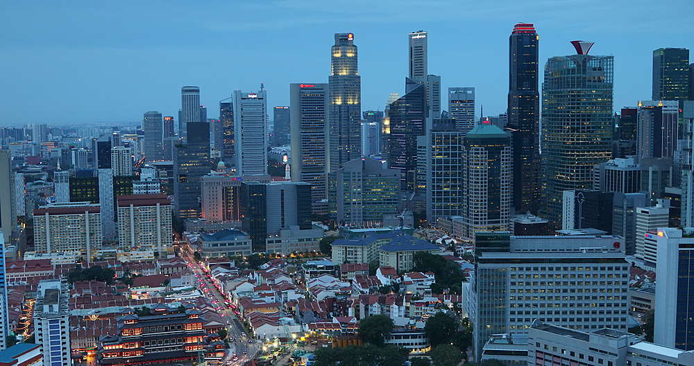 View of Chinatown and skyscrapers at dusk, Singapore, Southeast Asia, Asia