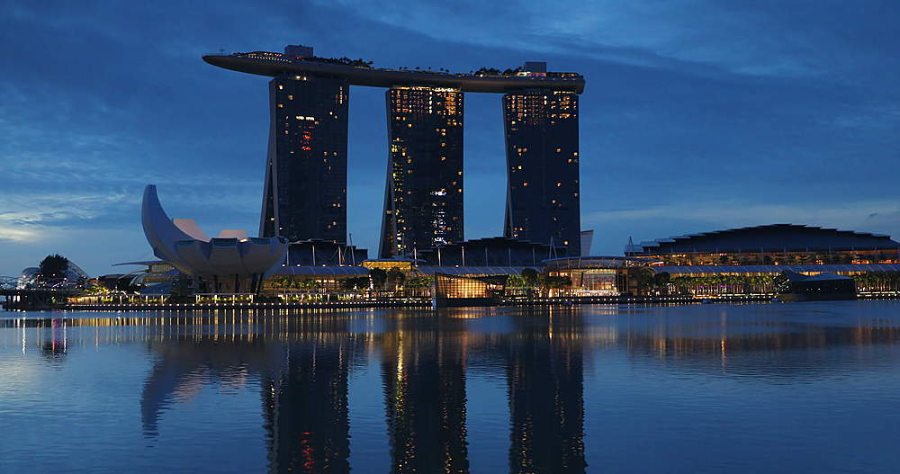 Marina Bay Sands Hotel at dawn, Marina Bay, Singapore, Southeast Asia, Asia - 800-3055