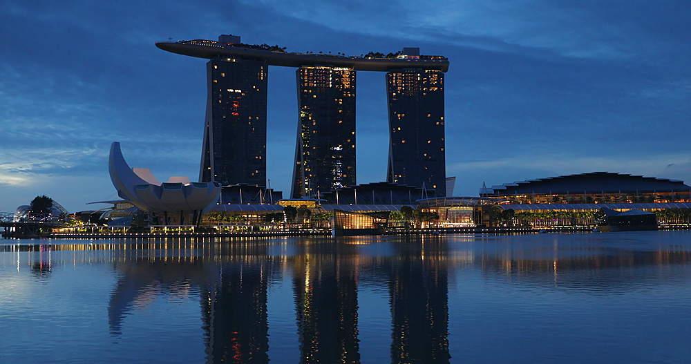 Marina Bay Sands Hotel at dawn, Marina Bay, Singapore, Southeast Asia, Asia