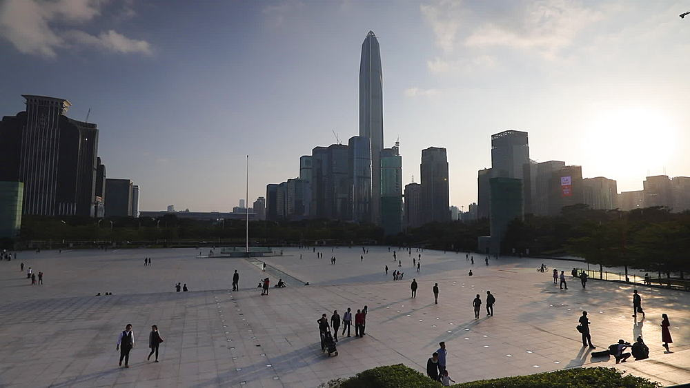 Civic Square with Ping An Finance Centre and skyscrapers, Futian, Shenzhen, Guangdong, China, Asia