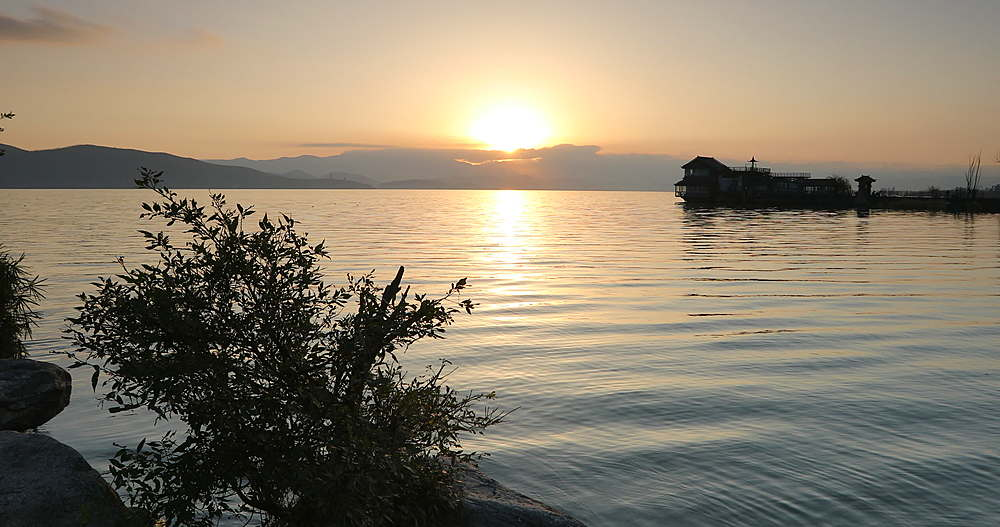 Erhai Lake at dawn, Dali, Yunnan, China, Asia