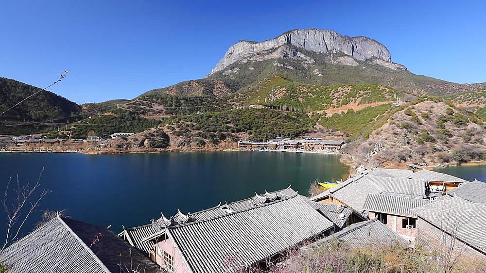 View of Lige village on Lugu Lake, Yunnan, China, Asia