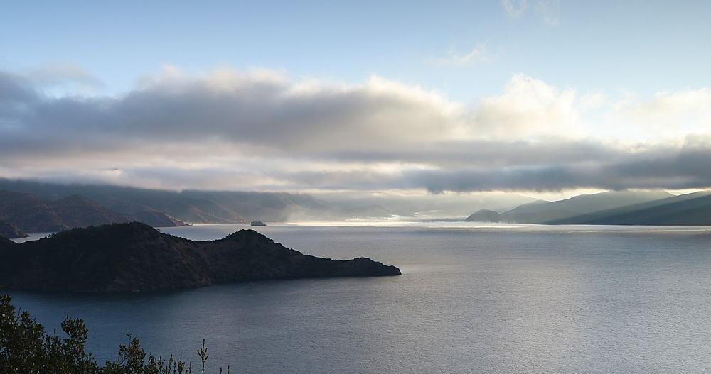 View of Lugu Lake at dawn, Yunnan, China, Asia
