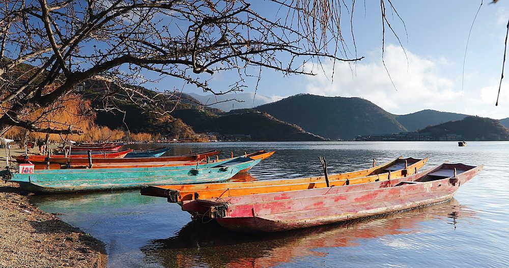 Boats on Lugu Lake, Yunnan, China, Asia
