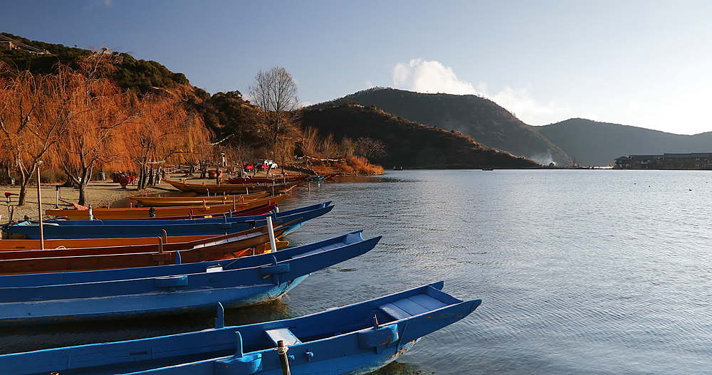 Boats on Lugu Lake, Yunnan, China, Asia - 800-3114