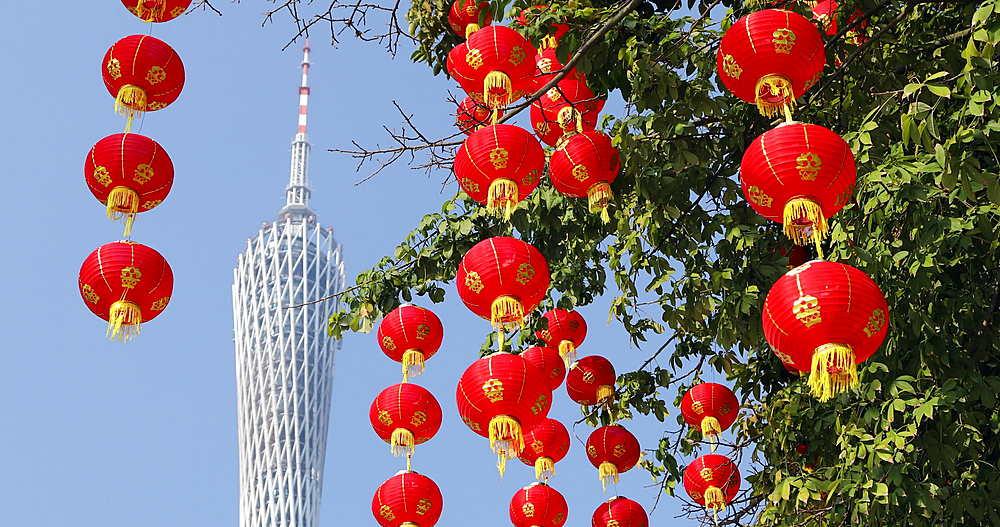 Canton Tower and lanterns, Guangzhou, Guangdong, China, Asia