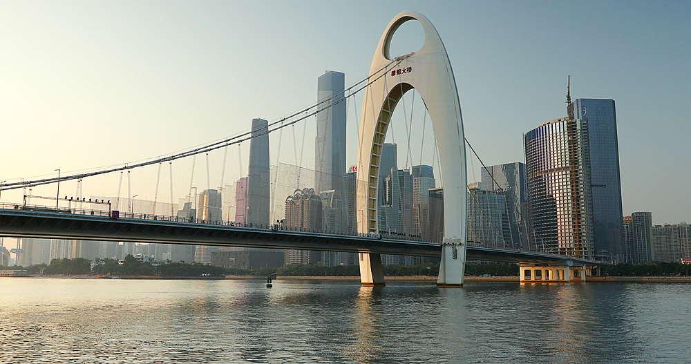 Skyline of Tianhe and Liede Bridge, Guangzhou, Guangdong, China, Asia