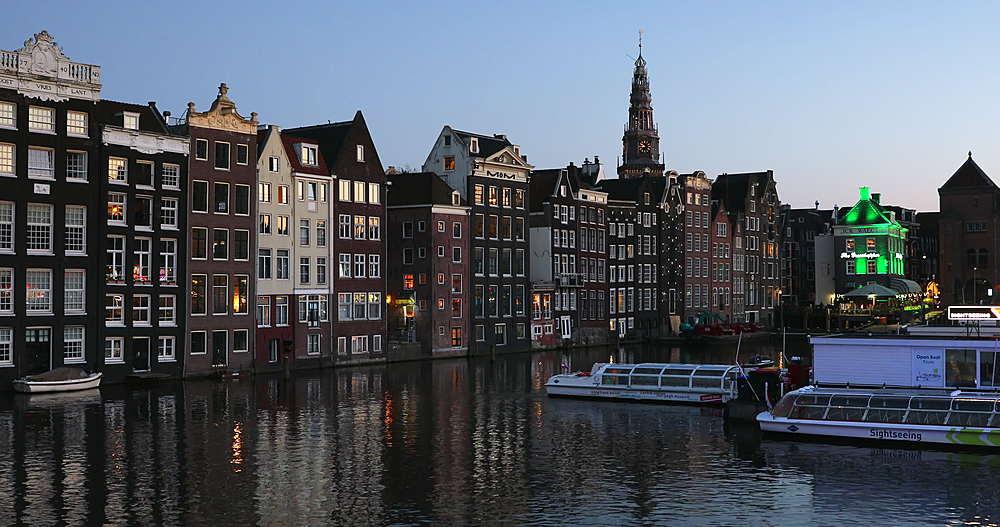 Houses along Damrak at dusk, Amsterdam, Netherlands - 800-3136