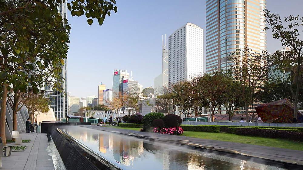 Roof garden of International Finance Centre (IFC), Hong Kong, China, Asia