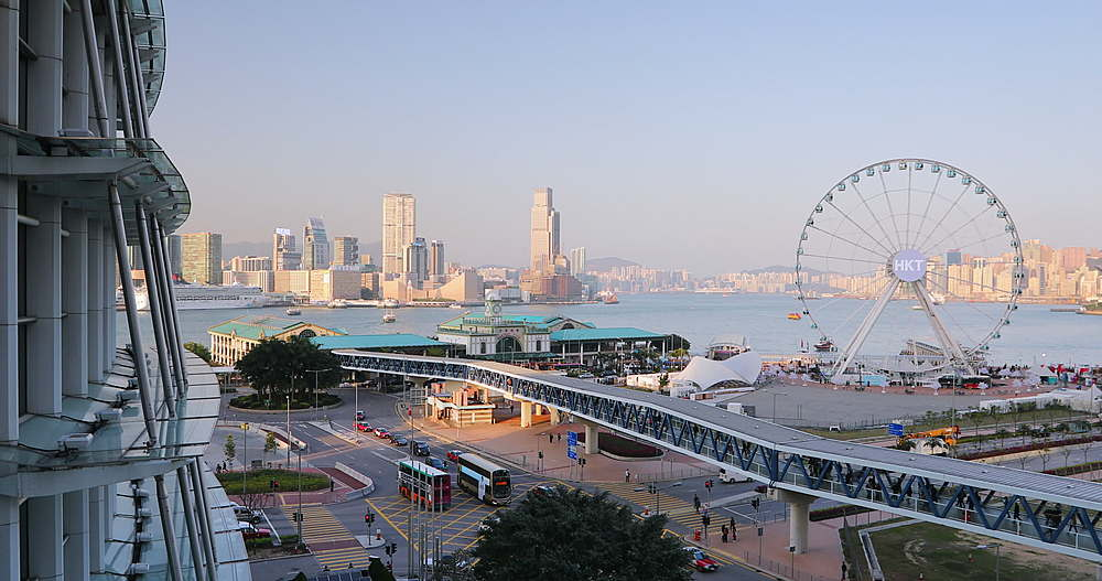 View of Ferris wheel and Tsim Sha Tsui skyline from International Finance Centre (IFC), Hong Kong, China, Asia - 800-3173