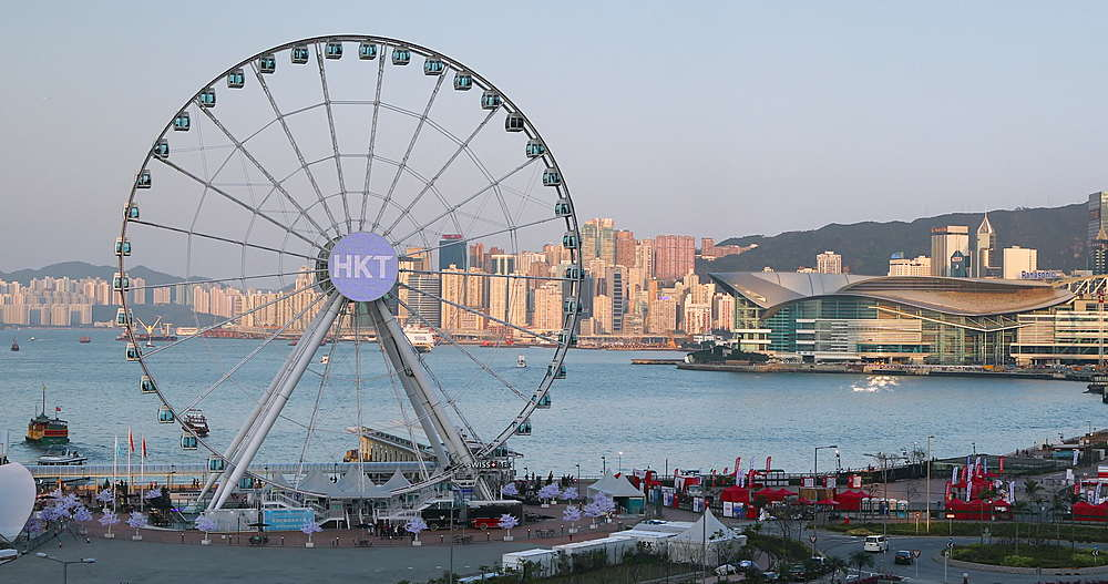 View of Ferris wheel, Hong Kong, China, Asia