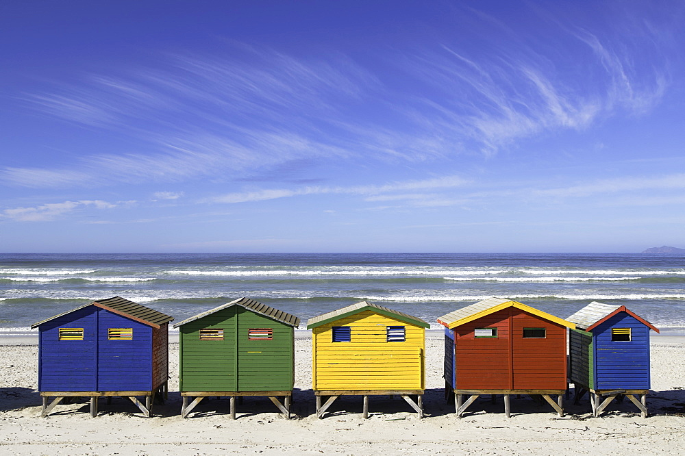 Beach huts on Muizenburg beach, Cape Town, Western Cape, South Africa - 800-3206