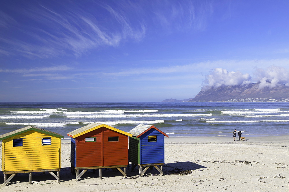 Beach huts on Muizenburg beach, Cape Town, Western Cape, South Africa - 800-3207