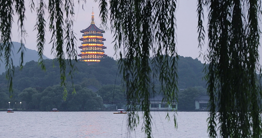 Leifeng Pagoda on West Lake, Hangzhou, Zhejiang, China - 800-3236