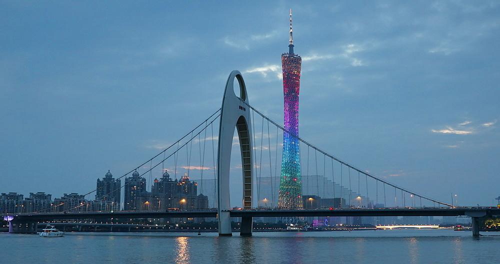 Liede Bridge and Canton Tower, Guangzhou, Guangdong, China, Asia