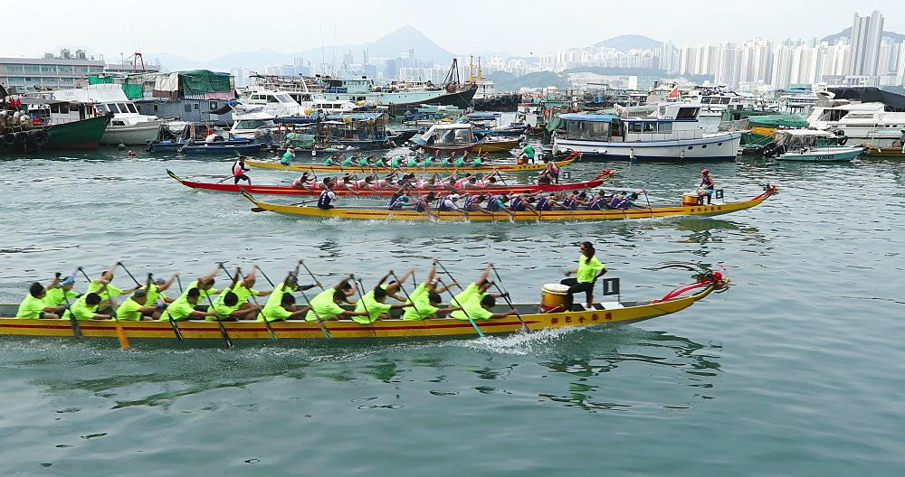 Dragon boat race, Shau Kei Wan, Hong Kong, China, Asia
