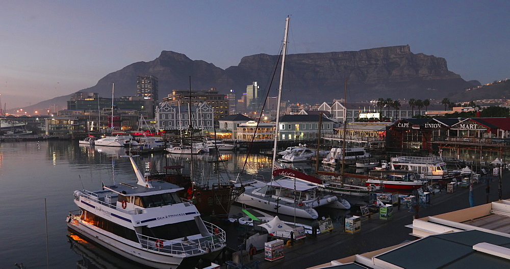 Victoria and Albert (V) Waterfront at dawn, Cape Town, Western Cape, South Africa - 800-3260