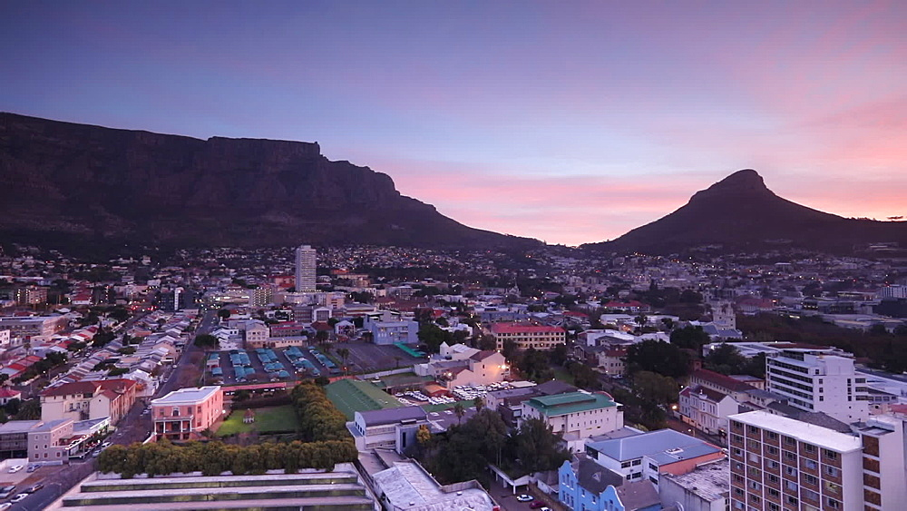 Table Mountain at sunset, Cape Town, Western Cape, South Africa, Africa - 800-3271