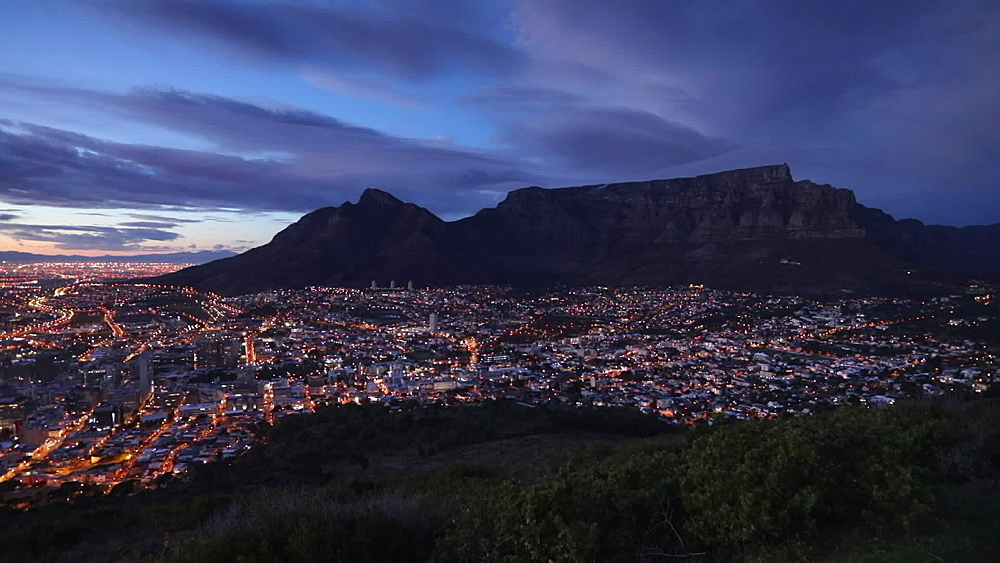 Table Mountain and City Bowl at sunrise, Cape Town, Western Cape, South Africa, Africa - 800-3272