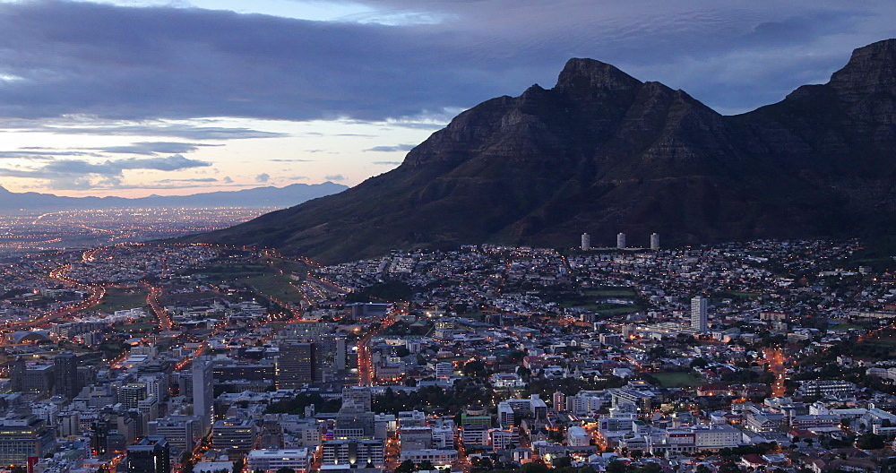 Table Mountain and City Bowl at sunrise, Cape Town, Western Cape, South Africa, Africa - 800-3273