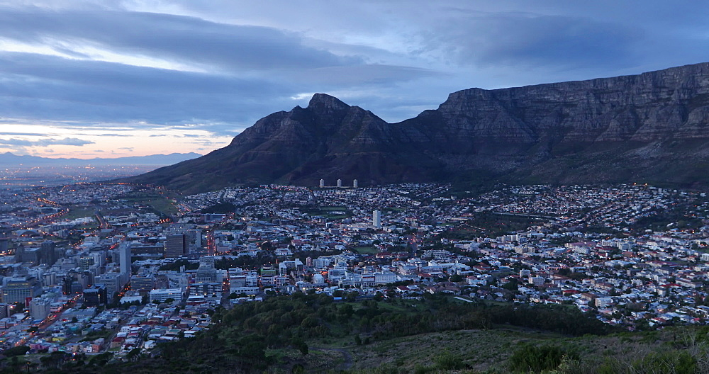 Table Mountain and City Bowl at sunrise, Cape Town, Western Cape,  South Africa - 800-3274