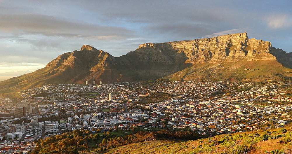 Table Mountain and City Bowl at sunrise, Cape Town, Western Cape, South Africa, Africa - 800-3278