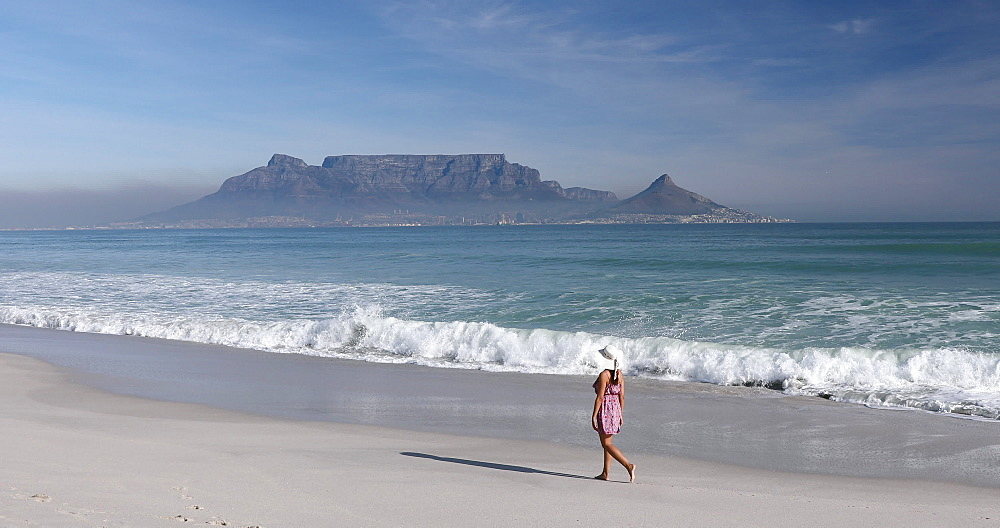 Woman walking on Bloubergstrand, Cape Town, Western Cape, South Africa, Africa - 800-3286