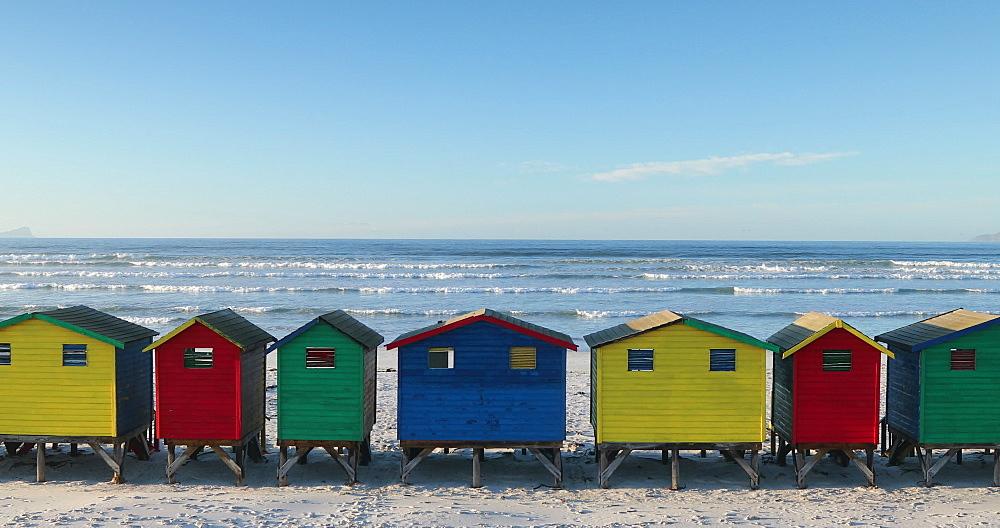 Colourful beach huts on Muizenberg beach, Cape Peninsula, Cape Town, Western Cape, South Africa - 800-3358