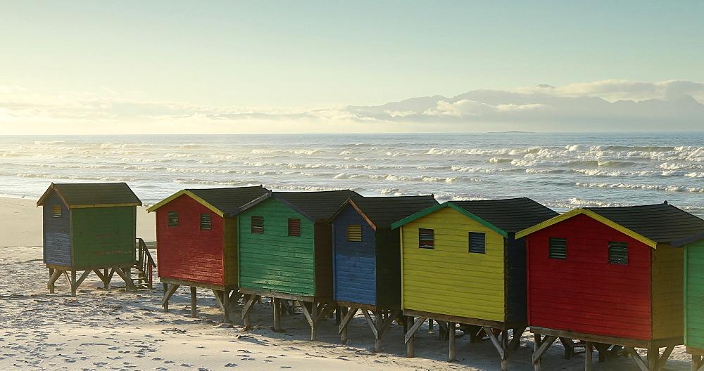 Colourful beach huts on Muizenberg beach, Cape Peninsula, Cape Town, Western Cape, South Africa, Africa - 800-3359