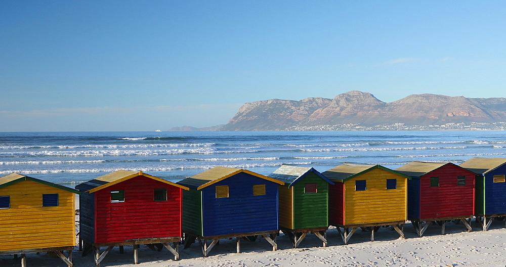 Colourful beach huts on Muizenberg beach, Cape Peninsula, Cape Town, Western Cape, South Africa - 800-3360