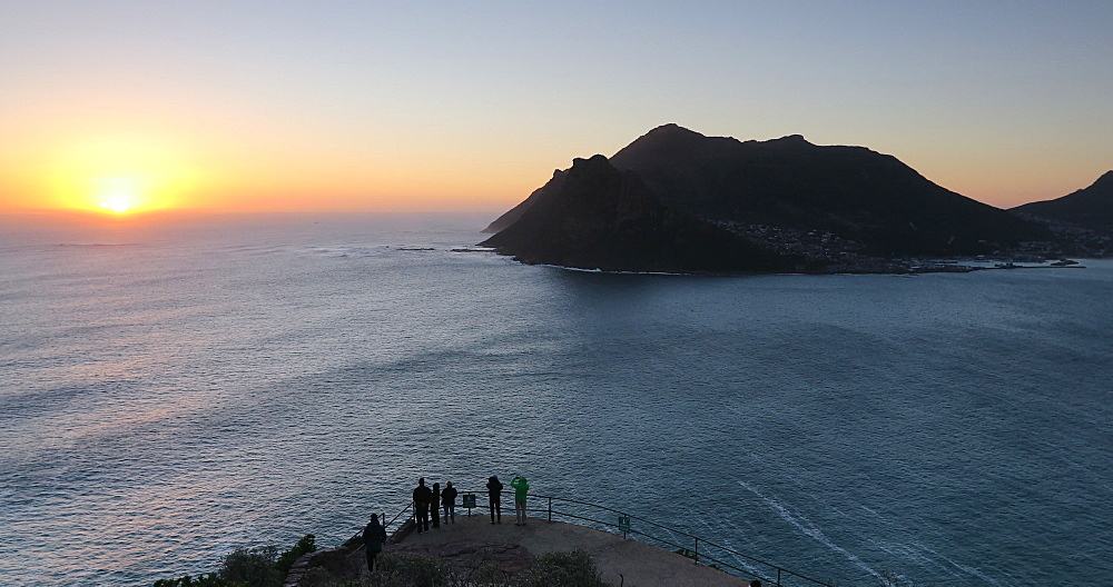 Hout Bay from Chapman's Peak Drive at sunset, Cape Peninsula, Western Cape, South Africa, Africa