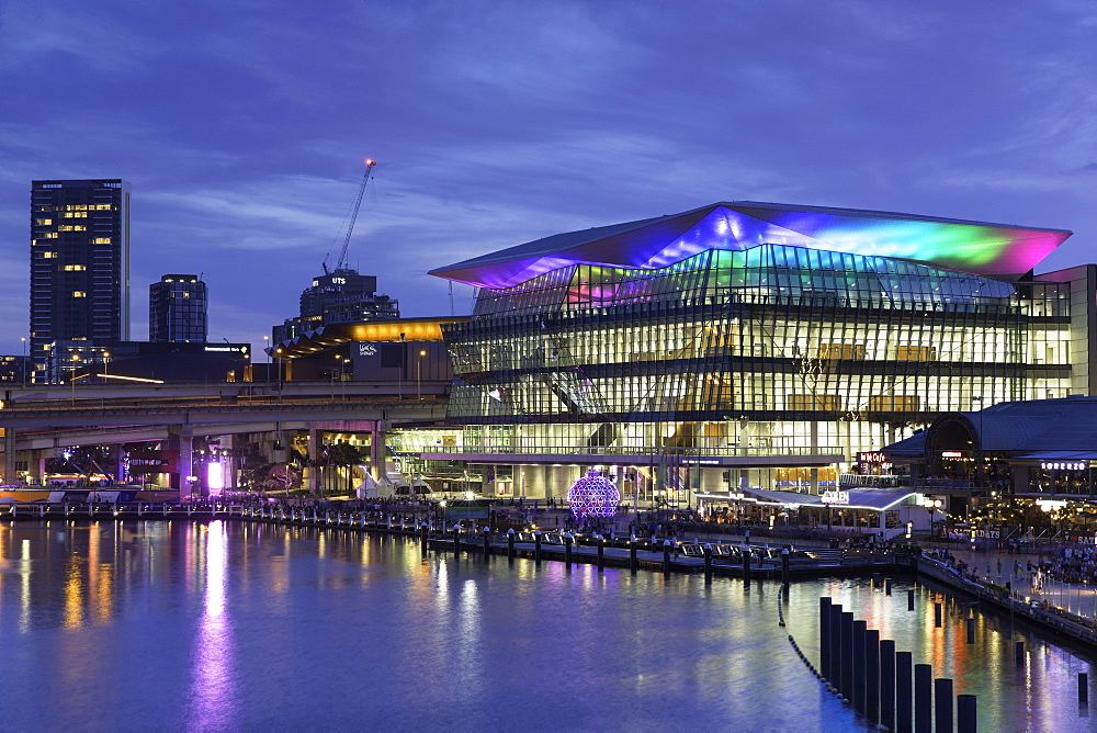 International Convention Centre at dusk, Darling Harbour, Sydney, New South Wales, Australia