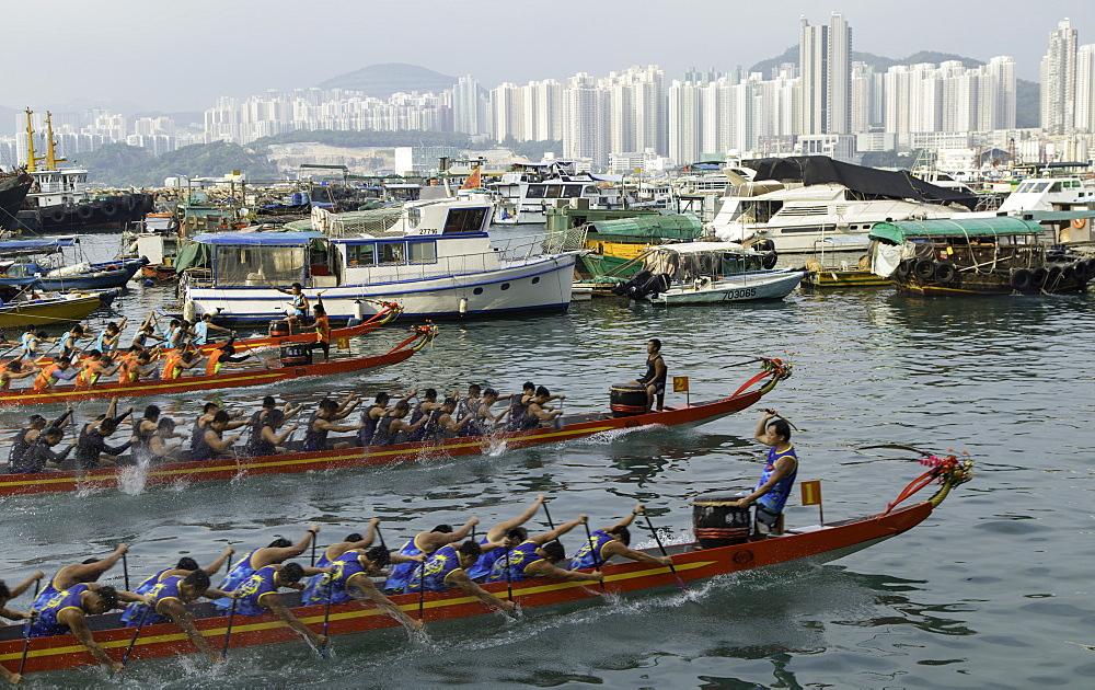 Dragon boat race, Shau Kei Wan, Hong Kong Island, Hong Kong, China, Asia - 800-3437