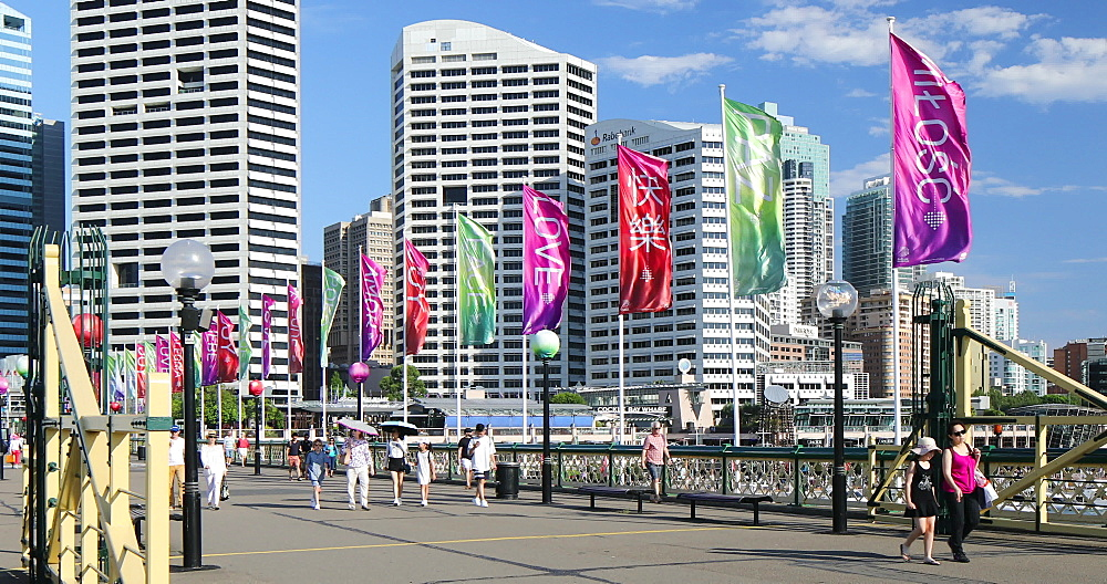 People crossing Pyrmont Bridge, Darling Harbour, Sydney, New South Wales, Australia, Pacific - 800-3466