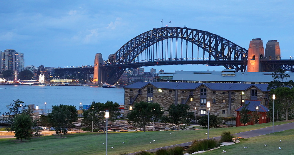View of Sydney Harbour Bridge from Barangaroo Reserve, Sydney, New South Wales, Australia, Pacific - 800-3473