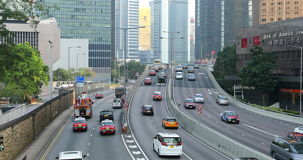 Traffic moving along Connaught Road, Admiralty, Hong Kong, China, Asia - 800-3526