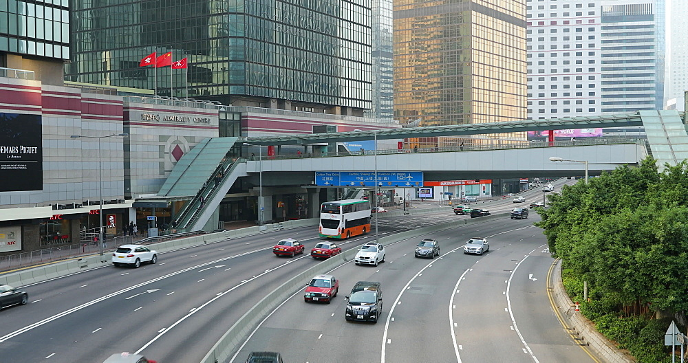 Traffic moving along Connaught Road, Admiralty, Hong Kong, China, Asia - 800-3527
