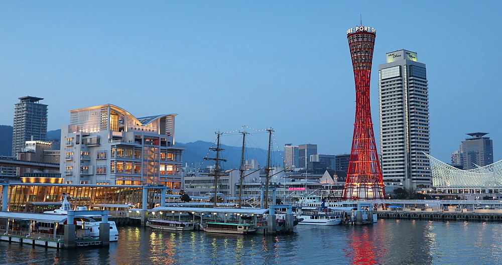 Port Tower and Maritime Museum at dusk, Kobe, Kansai, Japan, Asia - 800-3532