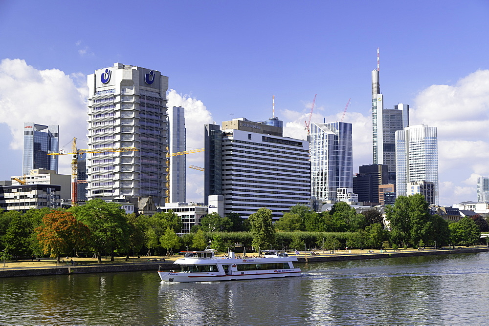 Skyline along River Main, Frankfurt, Hesse, Germany, Europe
