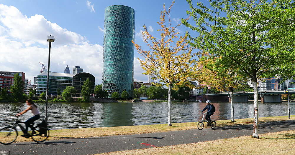 Westhafen Tower on River Main, Frankfurt, Hesse, Germany - 800-3609