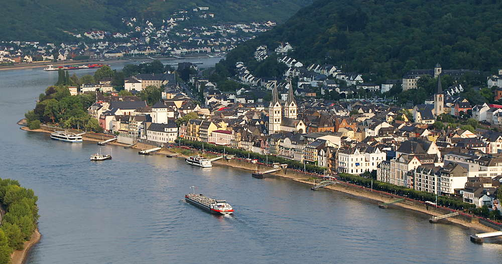 View of Boppard and River Rhine, Oberwesel, Rhineland-Palatinate, Germany - 800-3624