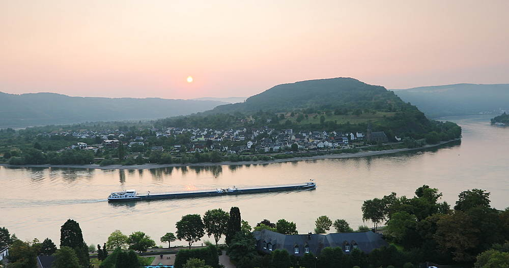 View of Boppard and River Rhine at sunrise, Oberwesel, Rhineland-Palatinate, Germany - 800-3625