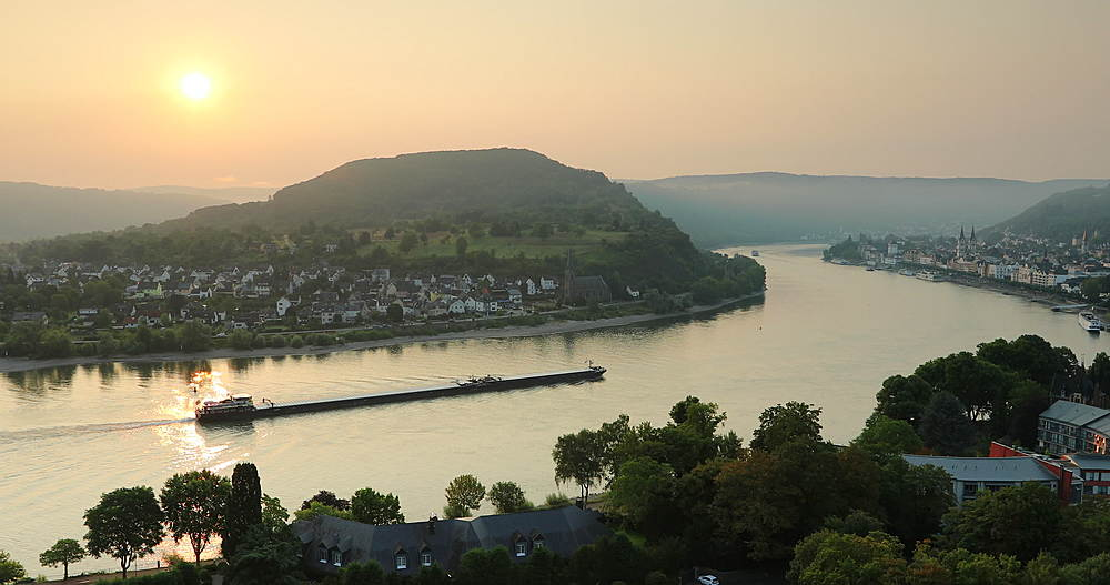 View of Boppard and River Rhine at sunrise, Oberwesel, Rhineland-Palatinate, Germany - 800-3626