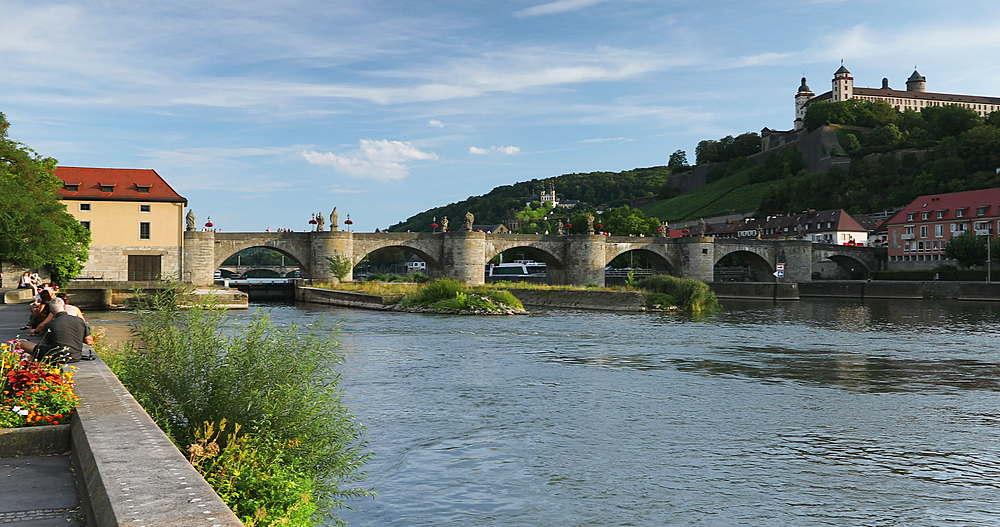 Marienberg Fortress and Old Main Bridge, Wurzburg, Bavaria, Germany - 800-3630