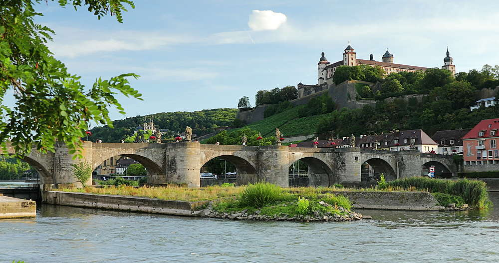 Marienberg Fortress and Old Main Bridge, Wurzburg, Bavaria, Germany - 800-3631
