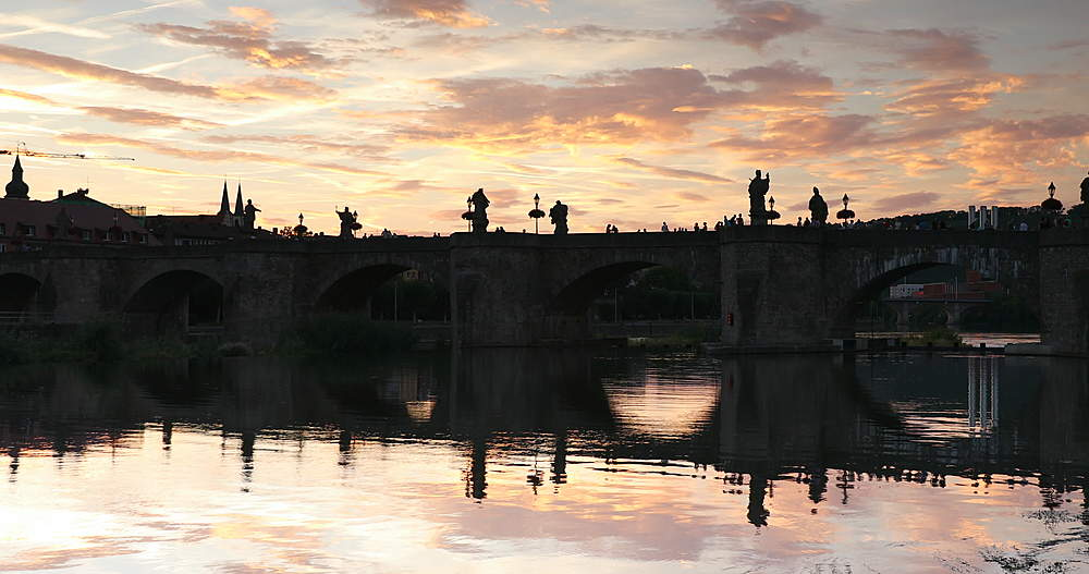 Old Main Bridge at sunset, Wurzburg, Bavaria, Germany - 800-3632